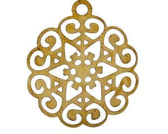 set of 10 pendants stamping filigree hollow 17 X 15 mm