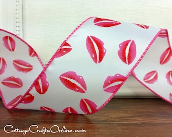 "Pink and Red Lips Valentine Wired Edge Ribbon, 2 1/2"" wide - THREE YARDS -  ""Kiss 40"" Valentine Craft Decor Wire Edged Ribbon"