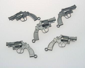 10 pcs.Zinc Gunmetal Handguns Pistol Revolver Charms Pendants 30x40 mm. Gun Gun 3040 3 CHM SP