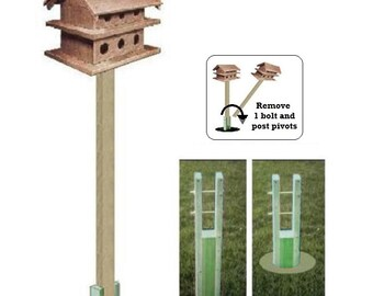 Ark Workshop GROUND SOCKET for wooden 4x4x8' birdhouse pole system for Purple Martin Houses & Large bird houses