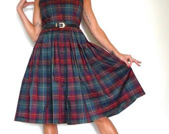 Vintage 50s inspired Tartan Plaid Taffeta Pleated Shirt Waist Dress (size small, medium)