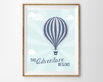 Vintage Hot Air Balloon Print for a Baby Boy's Nursery - The Adventure Begins - Instant Download Wall Art - Print at Home