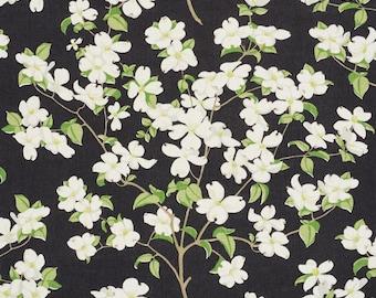 SCHUMACHER DOGWOOD BLOSSOM Branches Linen Fabric 10 yards Black Green Multi