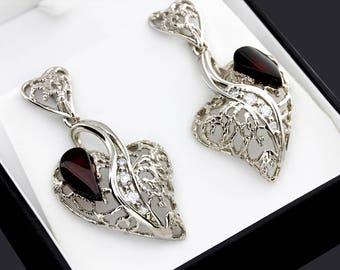 Sterling Silver Heart Earrings, Large Heart Earrings, Silver Gemstone Earrings For Women, Heart Gemstone Earrings, Heart Earrings For Gift