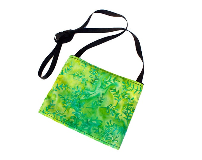 Mini crossbody bag - Batik Lime Neon Green Leaves fabric  perfect for travel or a night out!