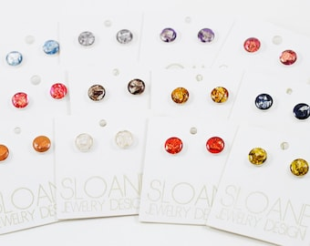 Eco Resin Stud Earrings - Assorted Colors