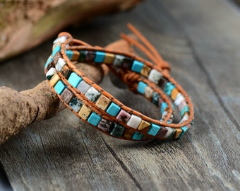 Natural stone vintage leather bracelet for women