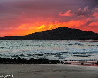 Galapagos Ecuador Print, Travel Photography, Sunset, Beach, Nature, Galapagos Islands, Island, Sunrise, Ocean, Sea, Pacific Ocean