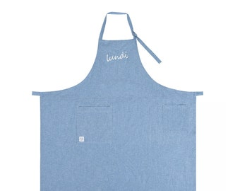Lundi(monday)_light blue -Embroidery Cotton apron for barista, chef, cafe, restaurant, Florist, bakery