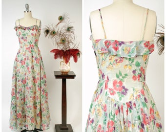 Vintage 1930s Dress - Spring 2018 Lookbook - Gorgeous Pale Grey and Bright Floral Sheer Crepe Gown with Ruffled Bust and Icy Lining