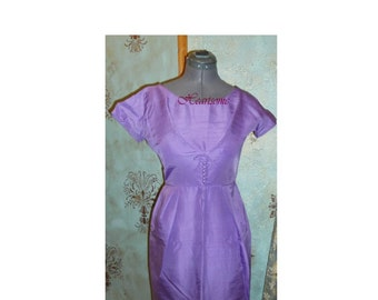 Mad men dress 50s 60s wiggle lavender purple stage mod retro Easter