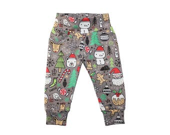 Christmas Leggings - Girls Leggings - Boys Leggings - Baby Leggings - Toddler Leggings Baby Pants - Gray Christmas Leggings - Santa Leggings