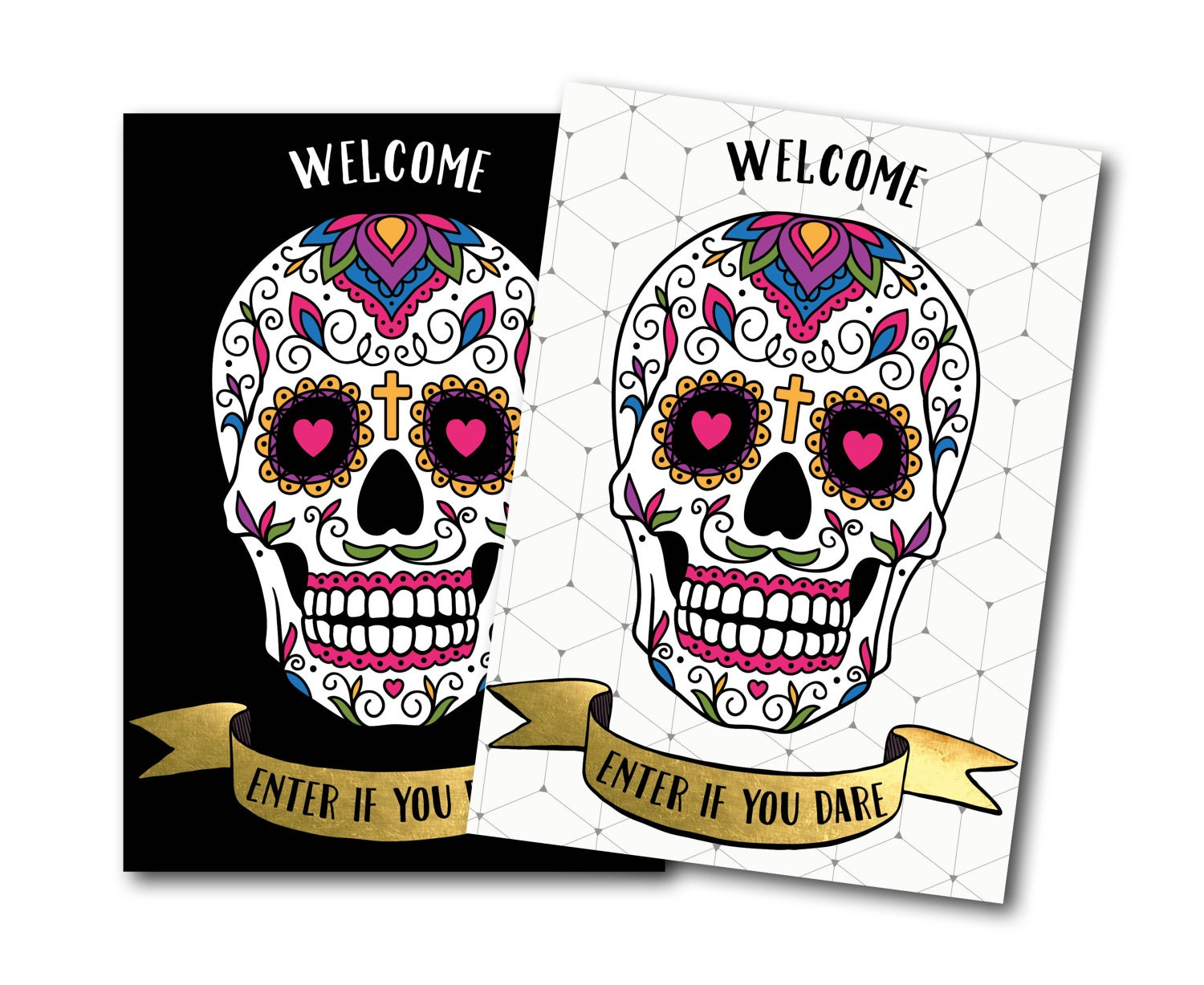 Sugar skull welcome sign Halloween welcome sign welcome