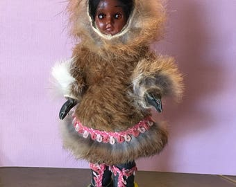 Vintage Native American Eskimo Doll Real Animal Fur Coat with Sleepy Eyes early 1970's
