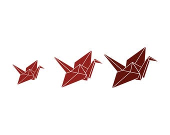 Paper Crane Family Car Decal