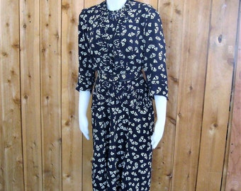 1940's Vintage Dress Rayon w/ Front Peplum, Navy Blue White Green Novelty Floral Print, 3/4 Sleeve Flared Skirt, Lady Graceful Mode Bust 38