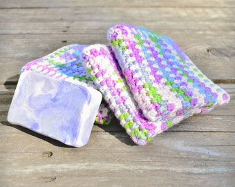 Baby washcloths, pink and white, green and blue, soft and gentle, baby shower gift, child's bath cloth, small wash cloths, set of four