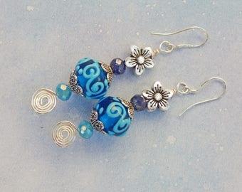 Bohemian Style, Flower, and Blue Murano Glass Earrings