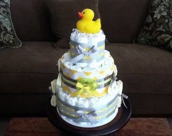 Chevron Stripes Yellow and Grey Diaper Cake baby shower centerpieces other colors and sizes too
