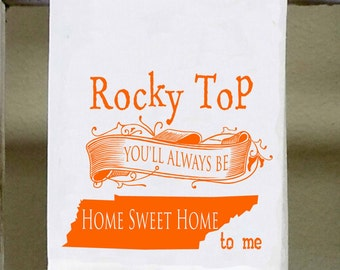 Rocky Top you'll always be home sweet home to me, Tennessee State Kitchen Towel, Dish Towel, white decorative