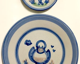 Vintage M. A. Hadley Pottery Plates Girl or Duck*** BUYER'S CHOICE***
