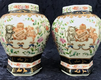 Stunning Antique Pair of Vases, Hexagonal Form, Hand Enameled, Samson French, Chinese Export, Armorial Crest, Australian Heraldic, Unique