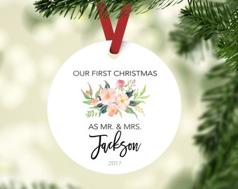 Personalized Wedding Gift, First Christmas Ornament, Newlywed Christmas, Ornament Married, Our First Christmas as Mr and Mrs Ornament,