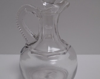 Cruet with Crystal Stopper Hand-blown Clear Vintage Glass