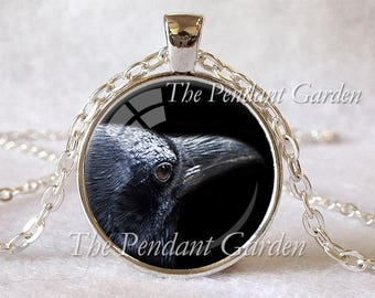 RAVEN PENDANT Black Raven Necklace Bird Jewelry Bird Lover Gift Black Gray Silver Blue Crow Necklace Chain Included