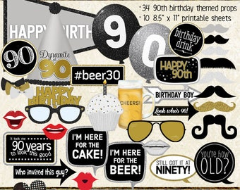 Photo Booth Props, HAPPY 90TH BIRTHDAY, boy, guy, man, printable sheets, instant download, black, gold, silver, selfie station