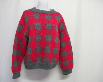 Bulky Sweater Wool Cropped Sweater Handknit sweater Red Sweater