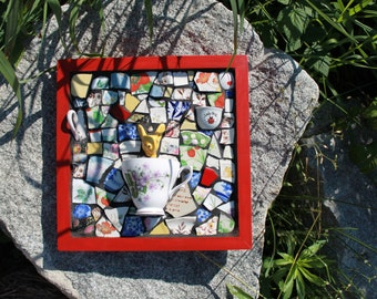 OH DEER- Mosaic Art Piece featuring broken dishes with Custom Wood Frame
