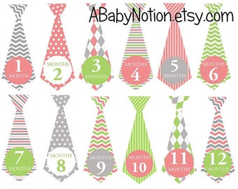 Pink and lime ties - 037 pink & lime monthly baby boy tie decals