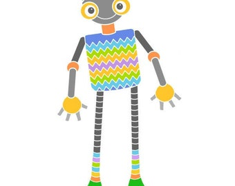 Zigzag robot illustration child bedroom art cute robot print art for kids room nursery wall art robot art modern nursery decor baby room