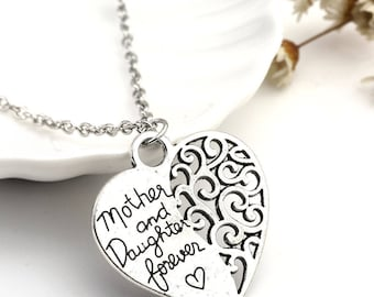 "Silver tone ""Mother and Daughter forever"" heart charm pendant,hand made chain necklace"
