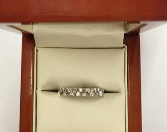 Vintage 70s 9ct White Gold Diamond Ring Size L