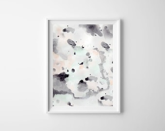 Abstract Watercolor Illustration: watercolor gray, mint and pink