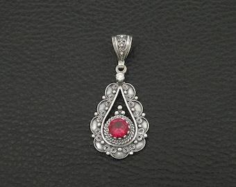 Ruby Cz Pendant Byzantine Style 925 Sterling Silver Greek Handmade Art Luxury