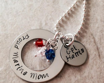 Hand Stamped personalized military necklace army navy marine corps coast guard wife girlfriend mom grandmother grandma sister