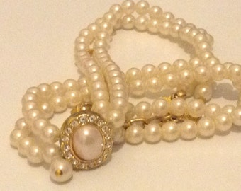 Vintage Imitation Pearl And Paste Bridal Necklace