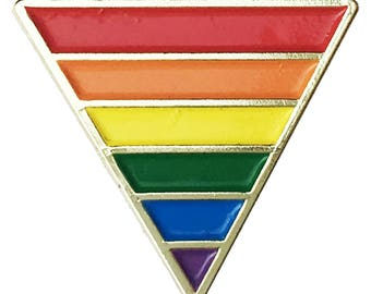 Rainbow Pride Flag Triangle Gold Plated - Enamel Lapel or Fabric Pin
