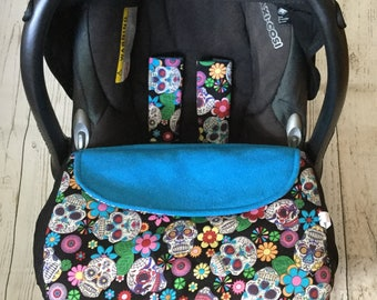 baby car seat apron cover  fitted blanket  harness strap covers  sugar skulls black blue cersie pink universal fit handmade