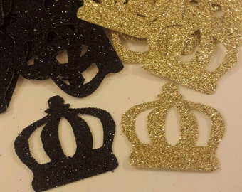 Royal Little Prince Crown confetti Black Gold Glitter 1st Birthday or Baby shower table decor