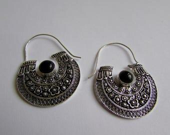 White Brass Black Onyx Gemstone Hoop Earrings Tribal Earrings Mandala Jewellery Free UK Delivery Gift Boxed WB63