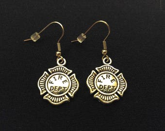 FIRE DEPT BADGE Charm Earrings Stainless Steel Ear Wire Silver Metal Unique Gift