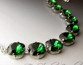 Emerald Moss Green Cushion Cut Bracelet - Swarovski Stones