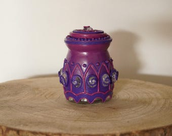 Purple jar with glass nuggets