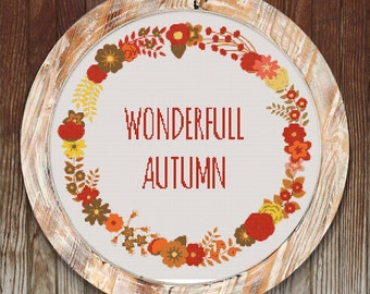 Wonderfull Autumn Modern Cross Stitch Pattern Wearth // Instant PDF Download