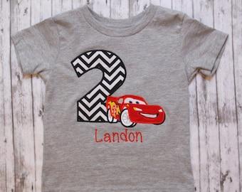 Cars Birthday Birthday Shirt, Lightening McQueen Embroidered Shirt, Boys Birthday Outfit, Custom Embroidered Shirt