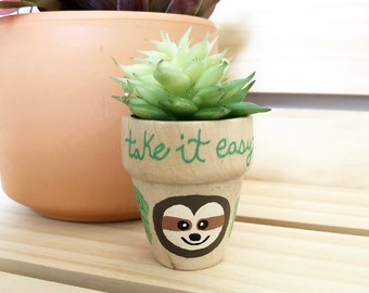 Sloth Gift, Mini Sloth Faux Succulent Plant, Gift for Sloth Lover, Fake Plant Decor, Small Gifts, Sloth Favor, Sloth Plant, Take it Easy